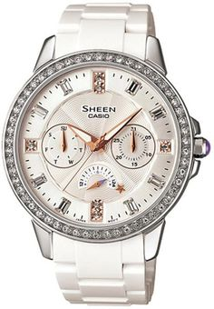 women's watches |  Best white watches for women Casio Women's Sheen SHE3023-7A Silver Resin Quartz Watch with Silver Dial