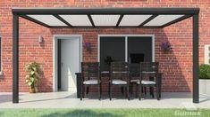 Gumax terrasoverkapping vooraanzicht 5.06m breed x 2.5m diep modern antraciet met opaal polycarbonaat dak Relax, Opal, Garage Doors, Patio, Diep, Outdoor Decor, Image, Home Decor, Garden Ideas