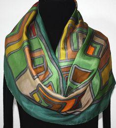 Silk Scarf Hand Painted Silk Shawl Green by SilkScarvesColorado