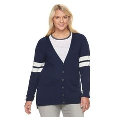 Juniors' Plus Size SO® Perfectly Soft Button-Front Cardigan, Girl's, Size: