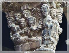 Capitel con escenas bíblicas (Tudela), la resurrección de Lázaro.