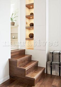 wooden split level steps