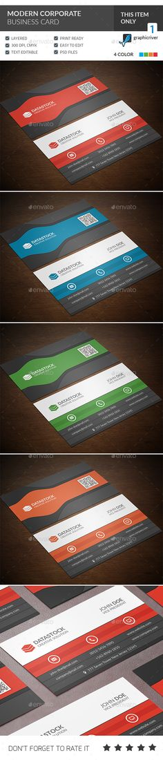 Modern Corporate Business Card Template #design Download: http://graphicriver.net/item/modern-corporate-business-card/13033255?ref=ksioks