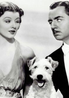 """Myrna Loy , William Powell and """"Asta"""" The Thin Man series. I love watching this with my kid. Nora Charles makes one of the best first entrances ever."""