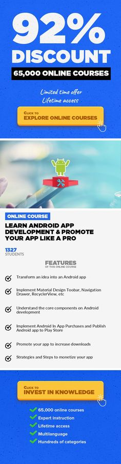 Learn Android App Development & Promote Your App like a Pro Mobile Apps, Development #onlinecourses #onlinedegreeposts #onlineprogramslinkLearn how to create a Productivity Android App and how to  rank #1 in Play Store and get 1,000,000 downloads. NOTE: this course typically sells for $299, but we reduced the price to $49 until the end of the month to help make it more affordable for you. This A...
