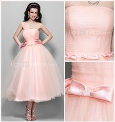 TS Couture® Cocktail Party / Homecoming / Wedding Party Dress - 1950s Plus Size / Petite A-line / Princess Strapless Tea-length Tulle 752069 2017 – $79.99
