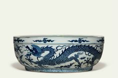A rare large blue and white 'dragon' basin, Ming dynasty, 16th century