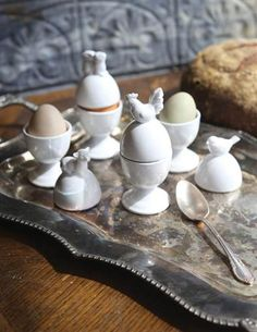 Morning Menagerie Egg Cups Set Of 4 - White Ceramic Cottage Egg Cups - Farmhouse Kitchen