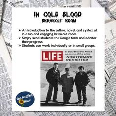 In Cold Blood Breakout Room by The Written Muse Teacher Education, Teacher Resources, High School Students, Student Work, Virtual High School, Teaching High Schools, Google Sign In, Ap Language, In Cold Blood