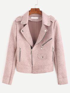 30$  Watch here - http://dicdc.justgood.pw/go.php?t=8179 - Pink Epaulet Zipper Detail Suede Biker Jacket