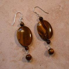 Golden Tiger Eye  & Sterling Silver Earrings  Available at Etsy.com (TheGemGirlJewelry) $31.50