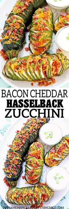 Bacon Cheddar Hasselback Zucchini - the low-carb version of a baked potato! #zucchinirecipe #zucchini #lowcarbrecipe