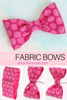 fabric bow tutorial Do you want to decorate your latest project with cute DIY fabric bows? Learn how to make fabric bows for hair clips & clothing in under 10 minutes! Fabric Bow Tutorial, Hair Bow Tutorial, Flower Tutorial, Easy Hair Bows, Making Hair Bows, Bow Making, How To Make Headbands, How To Make Bows, Make A Bow Tie