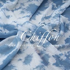 buy Light Blue Chiffon Fabric by the yard Printed Chiffon Fabric