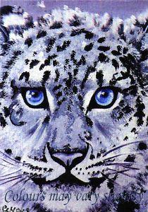 SALE! - ACEO art Print snow leopard cats animals Ltd Edition 2 of 24 SMcNeill