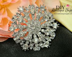 Large Crystal Rhinestone Brooch Flatback Metal Embellishment Wedding Bridal Brooch Bouquet 55mm 077072