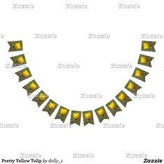 Pretty Yellow Tulip Bunting Flags