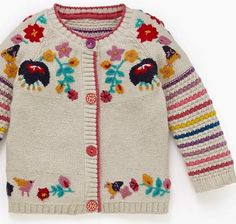 How am I gonna get myself one of these for my wee bebe, hmmm.print & pattern: NEW BOOK marks & spencerLovely cardi for a little girl Kids Knitting Patterns, Knitting For Kids, Girls Sweaters, Baby Sweaters, Colette Patterns, How To Purl Knit, Crochet Clothes, Knitwear, Knit Crochet