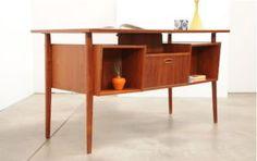 Mid Century TEAK Danish Modern FLOATING TOP Desk Eames