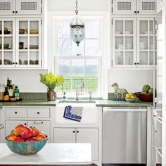 The Art of Living Small: White Kitchen with Green Soapstone Counters