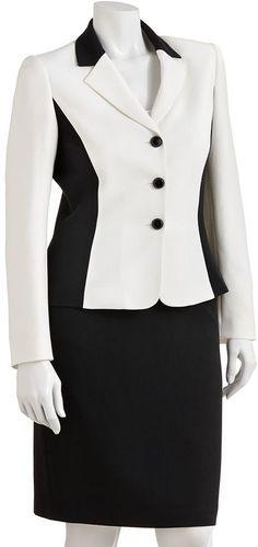Studio tahari-levine co. colorblock suit jacket & skirt set - women's on shopstyle.com
