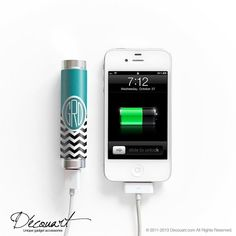Personalised chevron portable external battery charger for iPhone 4, iPhone 4s, iPhone 5, iPhone 5s, Samsung S4, Samsung S3 teal white black...