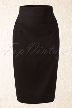 Collectif Clothing - 50s Fiona Black Pencil skirt