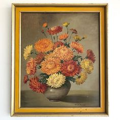 Delicate & vibrant petals in shades of yellows and tangerines, beautifully painted upon a dark ground. The painting sits in its original frame, some minor losses to the frame surround. Antique Art, Vintage Art, Vintage Antiques, Be Still, Still Life, Shades Of Yellow, Site Design, Vibrant, Delicate