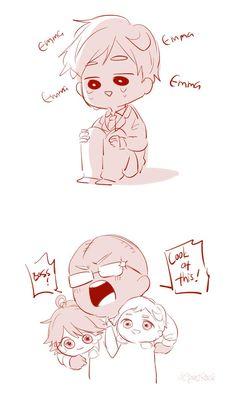 I just want Norman to be happy. Otaku Anime, Manga Anime, Anime Art, Norman, Terra Do Nunca, Chibi, Short Comics, I Love Anime, Haikyuu Anime
