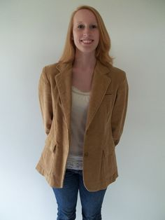 SOLD! THANK YOU! 1970's jacket / blazer corduroy tan lined by LilaCInspirations, $35.00