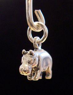 Hippopotamus Charm - Sterling Silver Hippo Charm