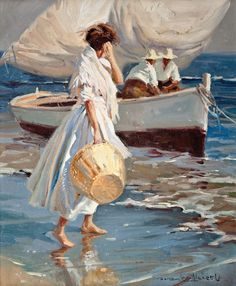 Juan González Alacreu Tis beautifully crafted painting i was sure must be a Sorolla, but no. Paintings I Love, Beautiful Paintings, Art And Illustration, Figure Painting, Painting & Drawing, Arte Inspo, Fine Art, Aesthetic Art, Figurative Art