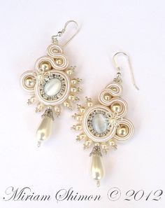 White and Cream Bridal Soutache earrings | Flickr - Photo Sharing!