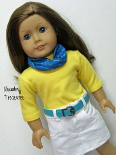 American Girl doll clothes, 18 inch doll clothes, yellow t-shirt, white jean skirt, teal belt, and scarf - Unending Treasures - Etsy - $26.00