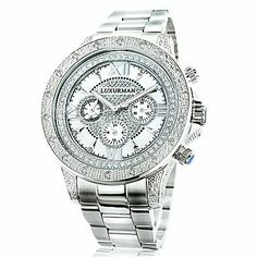 oversized iced out mens diamond watch by luxurman white gold luxurman diamond mens watch 0 5ct white gold plated