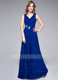 Evening Dresses - $119.99 - A-Line/Princess V-neck Floor-Length Chiffon Evening Dress With Lace Beading Cascading Ruffles (016042420) http://jjshouse.com/A-Line-Princess-V-Neck-Floor-Length-Chiffon-Evening-Dress-With-Lace-Beading-Cascading-Ruffles-016042420-g42420?pos=your_recent_history_3
