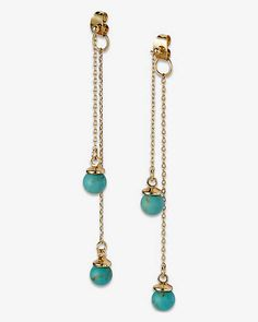 Turquoise Bead Dangle Earrings from EXPRESS