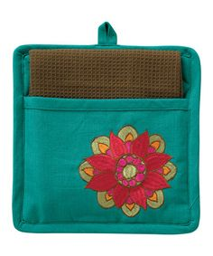 Take a look at this Turquoise Peacock Pot Holder & Dish Towel by Split P on #zulily today! $9 !!