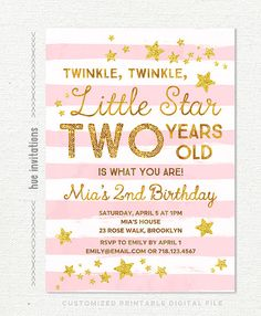 Twinkle Little Star Birthday Invitation Pink Girls 2nd Gold Glitter Stars