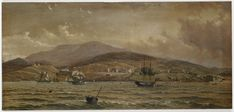 Hobart, 1829 / painted by Mrs A Prinsep Historical Pictures, Tasmania, Billboard, Family History, The Past, Australia, Places, Free, Painting
