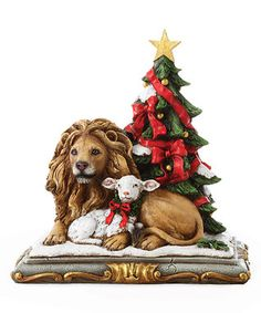 Christmas Tree Lion & Lamb Figurine