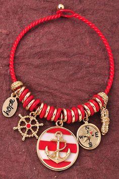 Anchor Charm Bracelet - Red