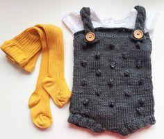 Body na szydełku romper ogrodniczki sesja foto - donewithlove - Body dla niemowląt