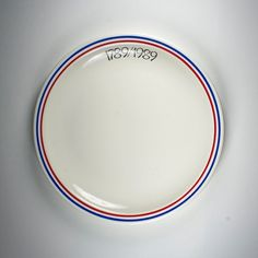 Vintage french bistro plate made to commemorate 200 years of the republic. In perfect condition, appears unused, white with blue and red