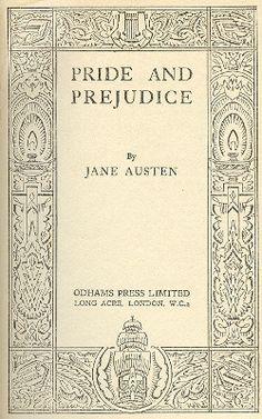 pride and prejudice original book cover - Google Search