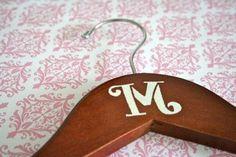 Classic Monogrammed Wedding Hanger - Cherry Finish. $8.00, via Etsy.
