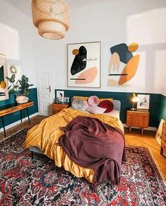 Country Home Interior emerald green and mustard tones in the bedroom of Jan Skacelik with a selection of his artworks.Country Home Interior emerald green and mustard tones in the bedroom of Jan Skacelik with a selection of his artworks Fall Home Decor, Home Decor Bedroom, Cheap Home Decor, Bedroom Art, 70s Bedroom, Mid Century Bedroom, Bedroom Quotes, Bedrooms, Home Decor Styles
