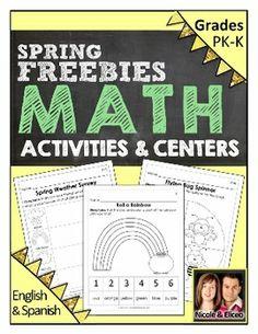 Preschool & Kindergarten Common Core Math FREEBIES for Spring