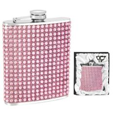 Pink Crystal Flask in Gift Box w/ Funnel by Wilouby. $38.00. 6 oz. Capacity. FUN CRYSTAL FLASK!. Wonderful Gift!. Wonderful bridesmaid's gift or party favor. Stainless steel, attached screw cap.. Unique and fun gift for women. Wonderful bridesmaid gift or party favor. Stainless steel and non-tarnish finish. UNIQUE Pink faux crystal OUTER! Ready for gift giving in Satin-Lined Gift Box w/ funnel. Six ounce capacity.. Save 46% Off!