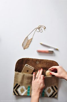 DIY Stamped Tribal Clutch | Easy Bag Tutorial